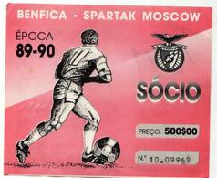 TICKET--SPORT  LISBOA E BENFICA- SPARTAK MOSCOW-89\90 - Tickets - Entradas