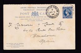 2 P. Blau DOPPEL-Ganzsache Ab Port-of-Spain 1896 Nach Spanien - BEDARF!!!! - Trindad & Tobago (...-1961)