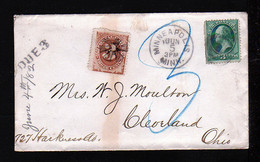 3 C. Auf Brief Aus Minneapolis Nach Cleveland - 3 C. Portomarke Mit Sternstempel - Covers & Documents