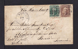 1865 - 5 C. Braun Und 10 C. Grün Auf Brief Ab Marsville Nach Berlin - Covers & Documents