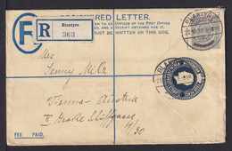 NYASSALAND - 1932 - 4 P. Einschreib Ganzsache Ab Blantyre Nach Wien - Altri