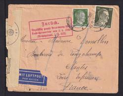 """1943 - Flugpostbrief Ab Reichenau Nach Frankreich - Zensur, Zurück-Stempel Und """"Bildkarten Unzulässig"""" - WO2"""