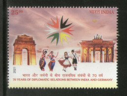 India 2021 70 Years Of Diplomatic Relation Between India And Germany Dance Monuments 1v MNH - Gemeinschaftsausgaben