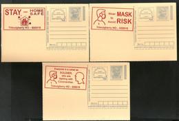 India 2020 3 Diff. COVID-19 Red Slogan Cancellation On Gandhi Post Card Mint # 16585 - Ansichtskarten