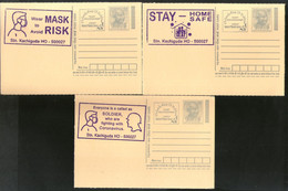 India 2020 3 Diff. COVID-19 Blue Slogan Cancellation On Gandhi Post Card Mint # 7060 - Ansichtskarten