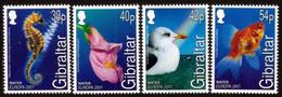 GIBRALTAR 2001 EUROPA WATER BIRDS FLOWERS FISH SEAHORSE SET MNH - Gibraltar