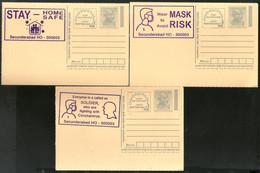 India 2020 3 Diff. COVID-19 Blue Slogan Cancellation On Gandhi Post Card Mint # 16196 - Ansichtskarten