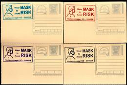India 2020 Wear Mask COVID-19 4 Diff Colour Slogan Cancellation On Gandhi Post Card Mint # 16310 - Ansichtskarten