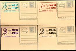 India 2020 Wear Mask COVID-19 4 Diff Colour Slogan Cancellation On Gandhi Post Card Mint # 7073 - Ansichtskarten