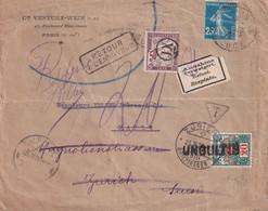 FRANCE 1921 LETTRE TAXEE DE PARIS  REFUSEE RETOUR A L'ENVOYEUR - 1921-1960: Periodo Moderno