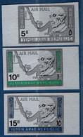 2106.2105 Yemen 1968 Konrad Adenauer Silver-coloured 3 Imperforated Values MNH Map - Sonstige