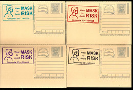 India 2020 Wear Mask COVID-19 4 Diff Colour Slogan Cancellation On Gandhi Post Card Mint # 6444 - Ansichtskarten