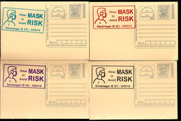 India 2020 Wear Mask COVID-19 4 Diff Colour Slogan Cancellation On Gandhi Post Card Mint # 6420 - Ansichtskarten