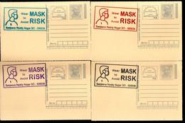 India 2020 Wear Mask COVID-19 4 Diff Colour Slogan Cancellation On Gandhi Post Card Mint # 7033 - Ansichtskarten