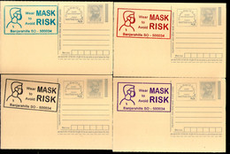 India 2020 Wear Mask COVID-19 4 Diff Colour Slogan Cancellation On Gandhi Post Card Mint # 6413 - Ansichtskarten