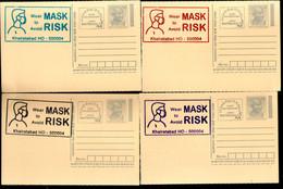 India 2020 Wear Mask COVID-19 4 Diff Colour Slogan Cancellation On Gandhi Post Card Mint # 6493 - Ansichtskarten