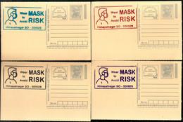 India 2020 Wear Mask COVID-19 4 Diff Colour Slogan Cancellation On Gandhi Post Card Mint # 7085 - Ansichtskarten