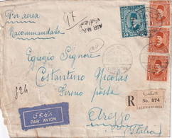 EGYPTE 1936 PLI AERIEN RECOMMANDE DE ALEXA DRIA AVEC CACHET ARRIVEE AREZZO - Covers & Documents