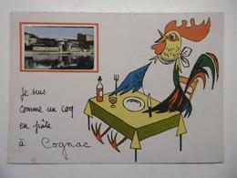 COGNAC Carte Fantaisie Avec Illustration Animaux COQ à Table Et Petite Photo De La Ville - CPM 16 CHARENTE - Cognac