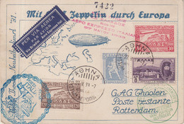 GRECE  :  CP . REC . VOL ZEPPELIN . 27/05/1933 . A TRAVERS L'EUROPE . - Covers & Documents