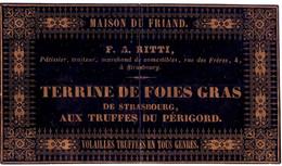 DE 726 - Etiquette Du F.A. Ritti, Maison Du Friand, Terrines De Foies Gras De Strasbourg Aux Truffes Du Perigord - 1900 – 1949