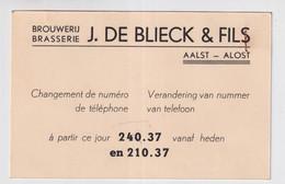 AALST ALOST  BROUWERIJ BRASSERIE  J.DE BLIEK & FILS - VERANDERING N° TELEFOON - Aalst