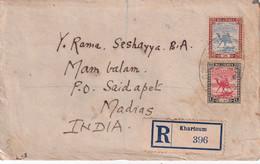 SOUDAN 1924 LETTRE RECOMMANDEE DE KHARTOUM AVEC CACHET ARRIVEE MADRAS - Soedan (...-1951)