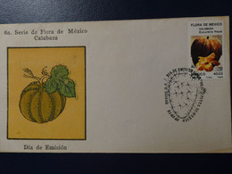 MEXICO. SEXTA SERIE DE FLORA DE MEXICO, FLORA DE MEXICO. NOPAL CALABAZA CITROUILLE. ANNEE 1986 FDC - Gemüse
