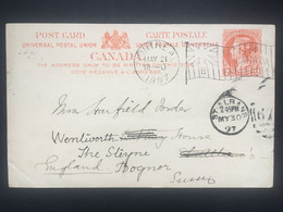 CANADA Victoria 1897 Stationary Post Card Montreal Flag Postmark To St. Albans England Re-directed To Bognor England - Brieven & Documenten