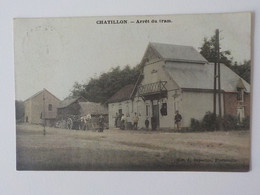 1908 CP Animée Chatillon Arrêt Du Tram Cheval Charrette Edit Duparque Florenville - Saint-Leger