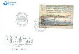 Føroyar 1987; Hafnia'87. Stamp Exhibition - FDC MB 3 (mini Sheet). - Faroe Islands