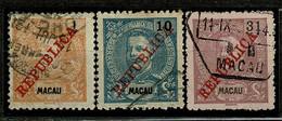 Macau, 1911, # 150, 157, 162, Used - Used Stamps