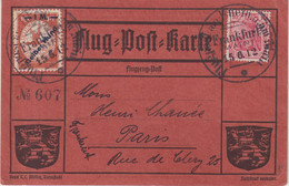 """ALLEMAGNE : CP OFFICIELLE . VOL DE JUIN . """" AM RHEIN UND MAIN """" AVEC 3 TP 1 MARK GELBER HUND. POUR LA FRANCE . 1912 . - Covers & Documents"""