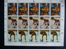 (b9) PARAGUAY SHEET 15 STAMPS MNH OLYMPIC GAMES 1980 IJSHOCKEY, ICE SKATING, OPENING OLYMPIC GAMES. - Paraguay