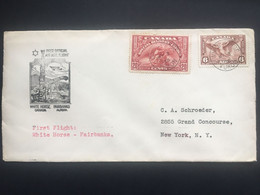 CANADA 1938 First Flight Cover White Horse To Fairbanks Tied With 20 Cents 1938 Special Delivery + 6 C Air Stamp - Lettres & Documents