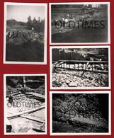 PORTUGAL - ALVEGA - LOTE 5 PCS - OBRAS PARA A CONSTRUCÇÃO DA PONTE - 1944 REAL PHOTO - Lugares