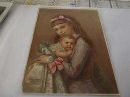 Chromo Découpis  Petite Fille Avec Bébé 13,5 Cm Sur 18 ,5 Cm - Kinder