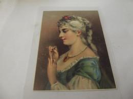 Chromo Découpis Portrait De  Jeune Femme 9,5 Cm Sur 13 Cm - Sonstige