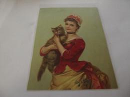 Chromo Découpis Portrait De  Jeune Femme Avec Son Chat  10,6 Cm Sur 14,5 Cm - Sonstige