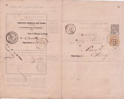 1863 - EMPIRE / AVIS De RECEPTION De CHARGEMENT CREULLY (CALVADOS) GC 1224 / HONFLEUR - 1849-1876: Periodo Classico