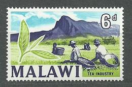 Malawi, 1964 (#6a), Local Motives Tea Industry Plants Field Trees Mountains Farmers African Bush - 1v Single - Bäume