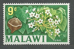 Malawi, 1964 (#7b), Local Motives Fruits Field Plants Tung Oil Tree Nuts Flowers China Burma Viet Nam - 1v Single - Bäume