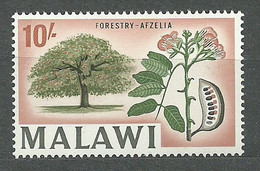 Malawi, 1964 (#13h), Local Motives Trees Flowers Fruits Forestry Afzelia Thailand Vietnam Cambodia Laos Burma -1v Single - Bäume