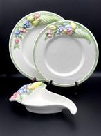 Vintage Set Of 4 Plates , 4 Dessert Plates +1 Saucer TRE ART 1970 #madeintaly #handpainted #rare #majolica - Otros