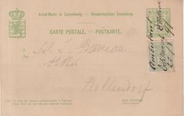 LUXEMBOURG : ENTIER POSTAL . AVEC COMPLEMENT D'AFFRANCHISSEMENT . OBL . MANUSCRITE D'AMBULANT . RARE . 1891 . - Postwaardestukken