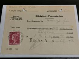 Récépissé D'acceptation, Oblitéré Esch-Alzette 1952 - Brieven En Documenten