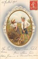 2 Jolies Cartes Avec Gaufrage Juillet 1910 Couple D'enfants à La Campagne. TBE - Verzamelingen & Reeksen