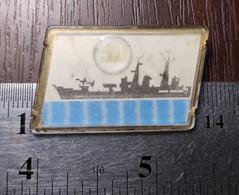 Ship Lenticular Badge Lapel Pin Warship USSR 50th Anniversary Of The Soviet Navy Russia Soviet Union Propaganda - Altri
