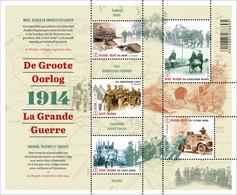 Blok 220** De Groote Oorlog 1914 (100 Jaar Eerste Wereldoorlog) 4447/51** / La Grande Guerre (Part 1-Deel 1) - Bloques 1962-....