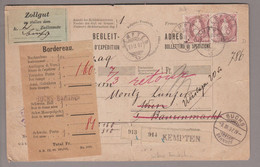 CH Heimat ZH Kempten 1897-02-19 Paketkarte Nach Wien Mit Stehende H. 2x Zu#71D (Zahnfehler) - Briefe U. Dokumente